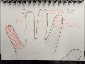 sketch of airboard glove