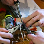 soldering the arduino